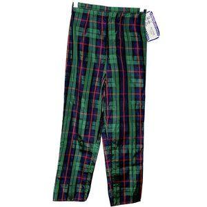 Kelly's Kids Green Plaid Satiny Pants Sz 10 Girls